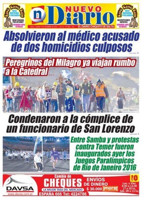 Tapa del 08/09/2016 Nuevo Diario de Salta