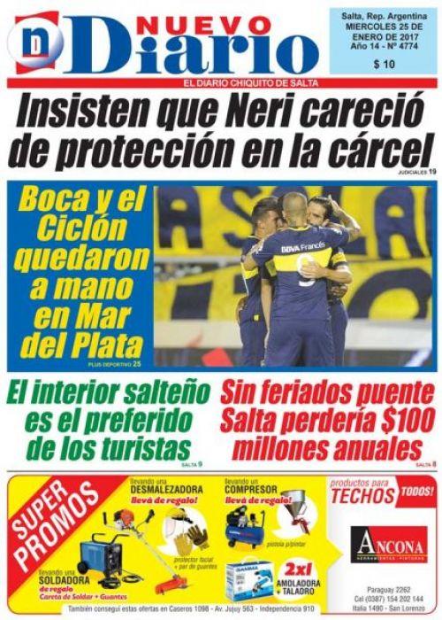 Tapa del 25/01/2017 Nuevo Diario de Salta