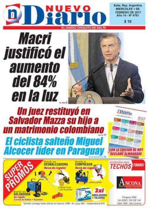 Tapa del 01/02/2017 Nuevo Diario de Salta