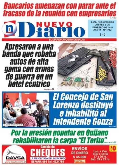 Tapa del 02/02/2017 Nuevo Diario de Salta