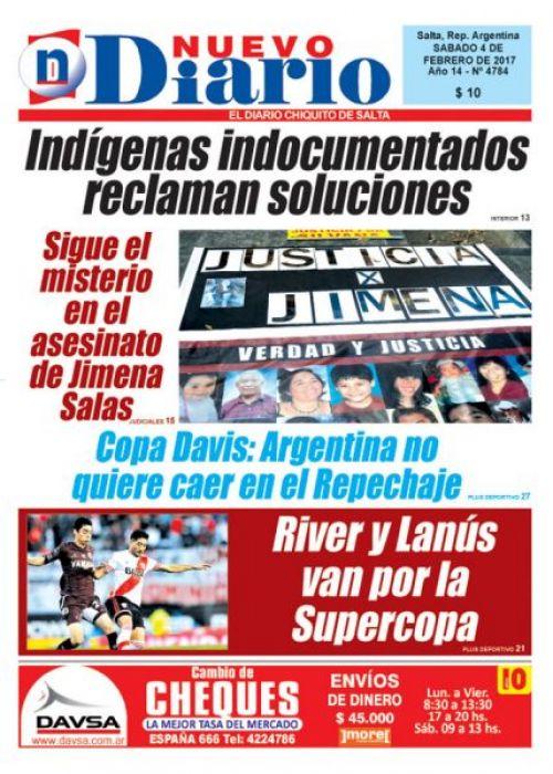 Tapa del 04/02/2017 Nuevo Diario de Salta