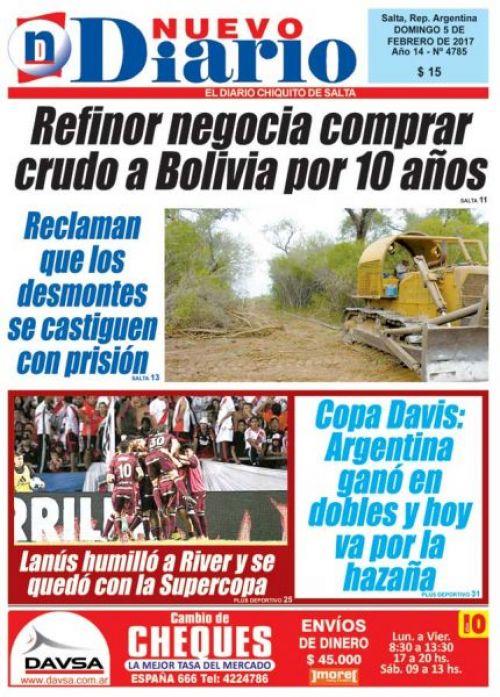 Tapa del 05/02/2017 Nuevo Diario de Salta
