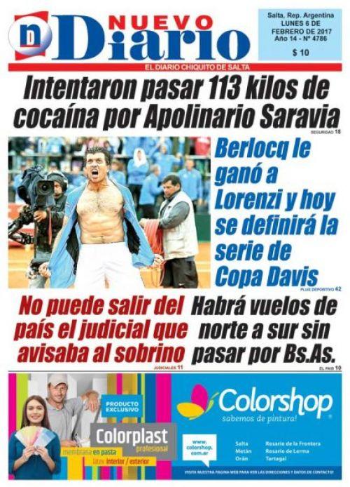 Tapa del 06/02/2017 Nuevo Diario de Salta