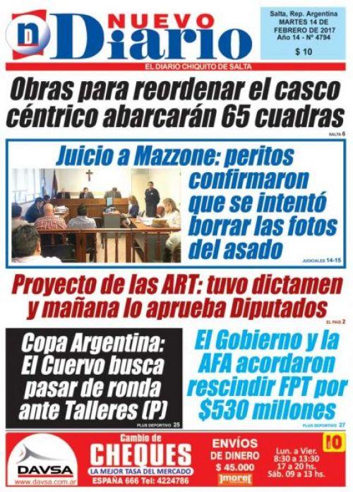 Tapa del 14/02/2017 Nuevo Diario de Salta