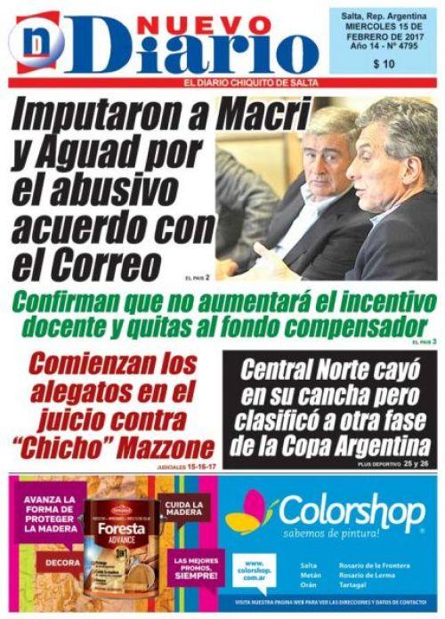 Tapa del 15/02/2017 Nuevo Diario de Salta