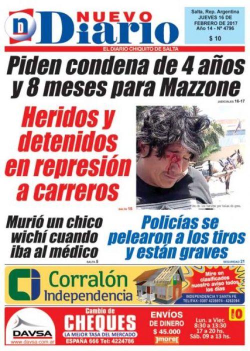 Tapa del 16/02/2017 Nuevo Diario de Salta