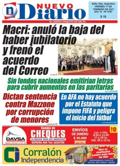 Tapa del 17/02/2017 Nuevo Diario de Salta