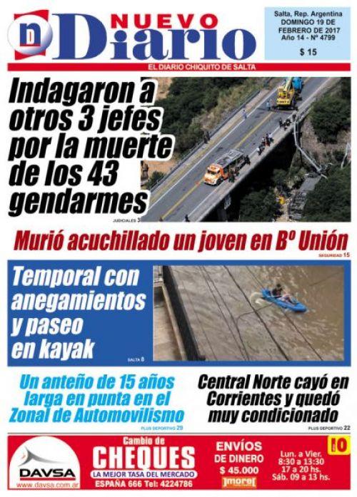 Tapa del 19/02/2017 Nuevo Diario de Salta