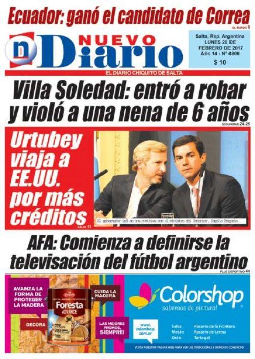 Tapa del 20/02/2017 Nuevo Diario de Salta