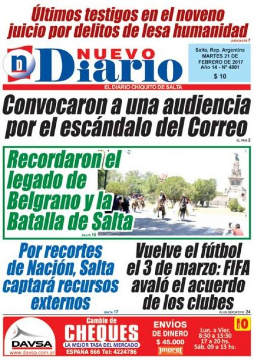 Tapa del 21/02/2017 Nuevo Diario de Salta