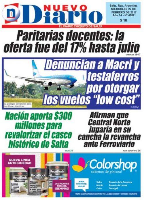 Tapa del 22/02/2017 Nuevo Diario de Salta