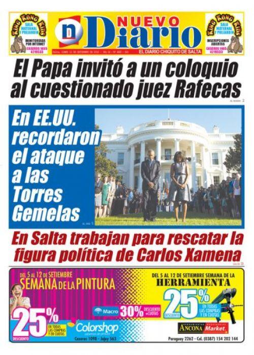Tapa del 12/09/2016 Nuevo Diario de Salta