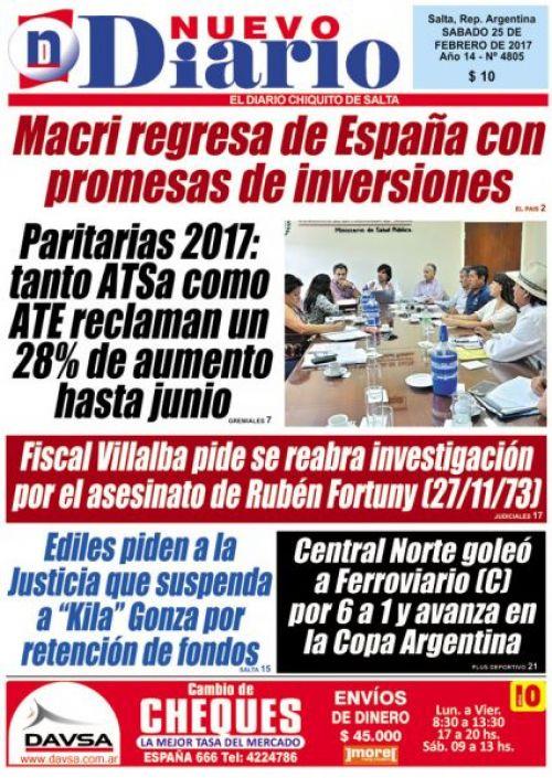 Tapa del 25/02/2017 Nuevo Diario de Salta