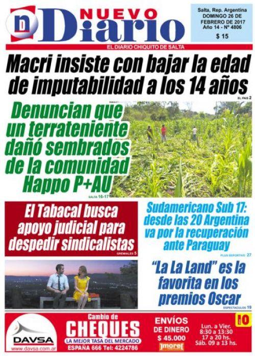 Tapa del 26/02/2017 Nuevo Diario de Salta