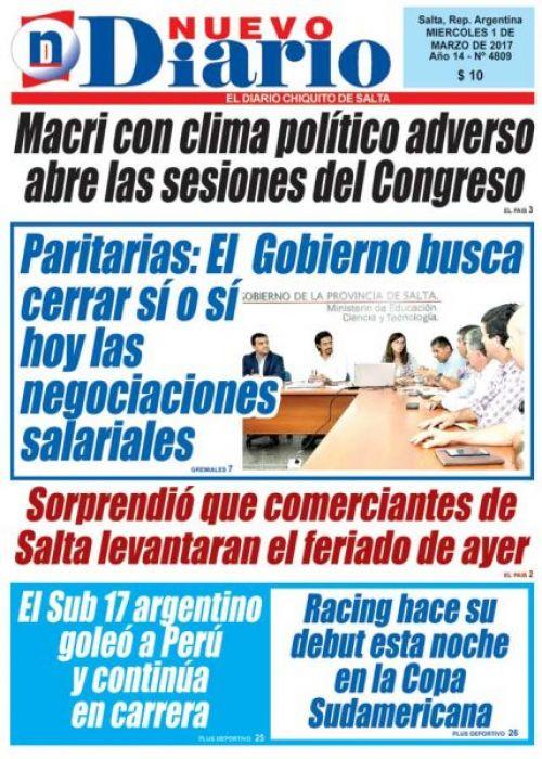 Tapa del 01/03/2017 Nuevo Diario de Salta