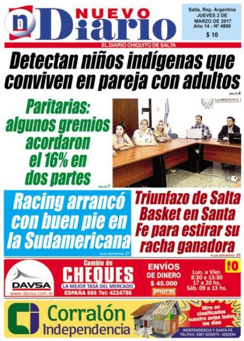 Tapa del 02/03/2017 Nuevo Diario de Salta