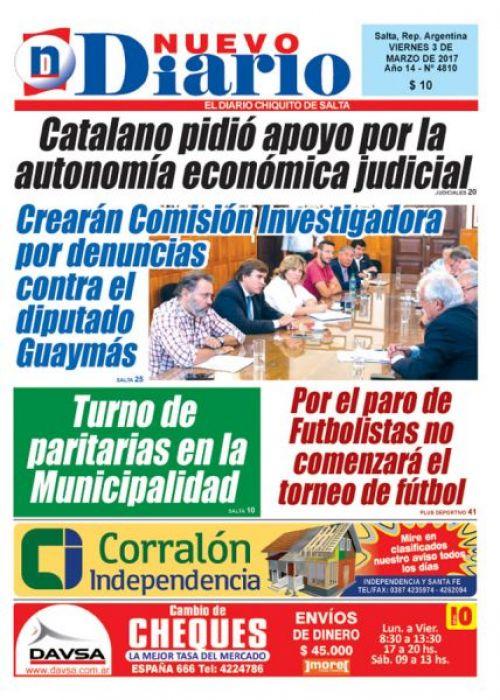 Tapa del 03/03/2017 Nuevo Diario de Salta