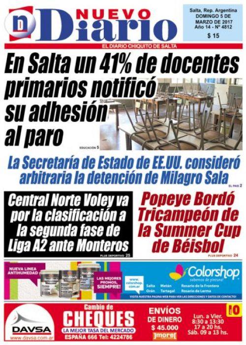 Tapa del 05/03/2017 Nuevo Diario de Salta