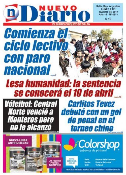 Tapa del 06/03/2017 Nuevo Diario de Salta
