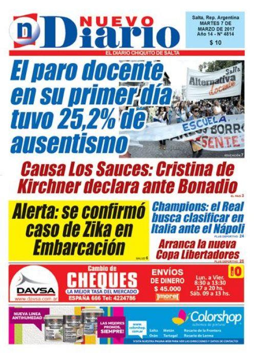 Tapa del 07/03/2017 Nuevo Diario de Salta