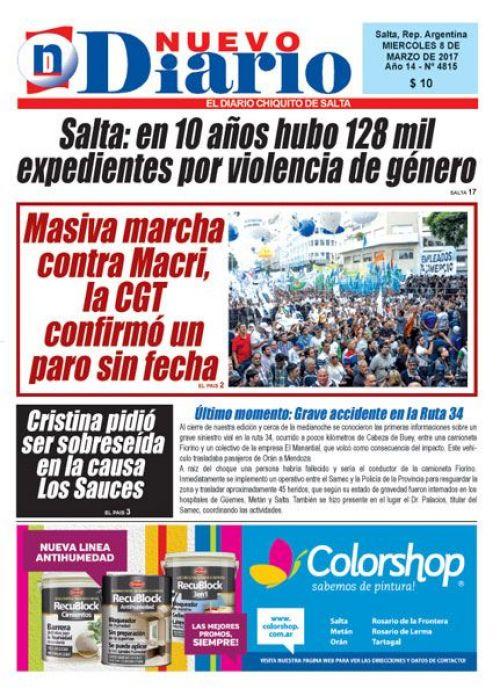 Tapa del 08/03/2017 Nuevo Diario de Salta