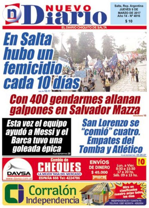 Tapa del 09/03/2017 Nuevo Diario de Salta