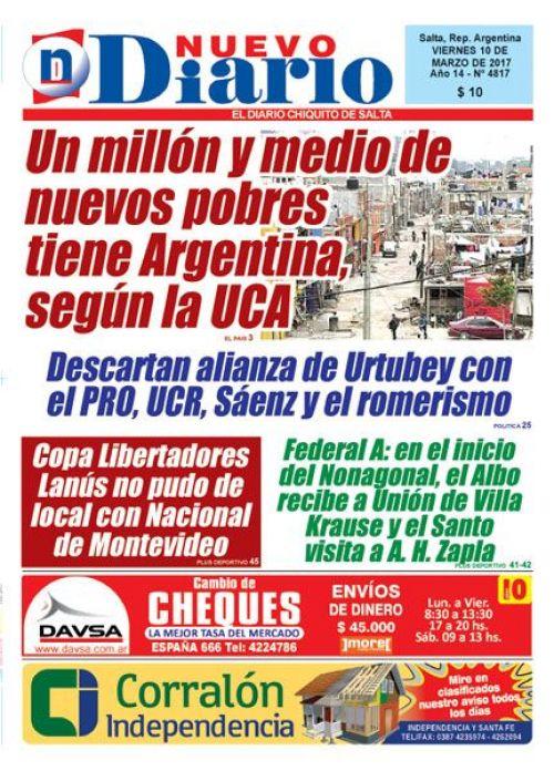 Tapa del 10/03/2017 Nuevo Diario de Salta