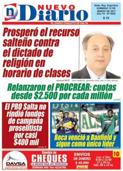 Tapa del 12/03/2017 Nuevo Diario de Salta