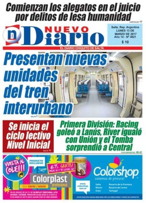Tapa del 13/03/2017 Nuevo Diario de Salta