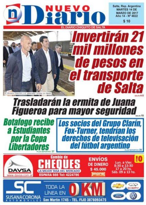 Tapa del 14/03/2017 Nuevo Diario de Salta