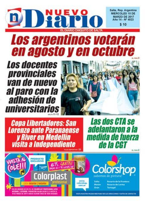 Tapa del 15/03/2017 Nuevo Diario de Salta