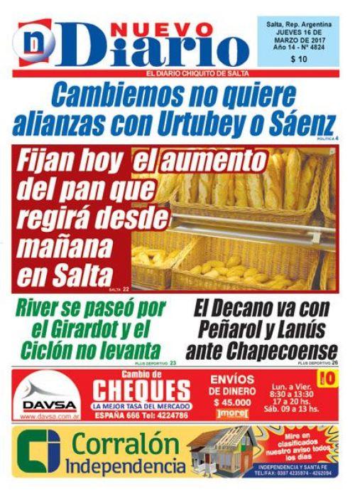 Tapa del 16/03/2017 Nuevo Diario de Salta