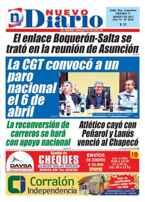 Tapa del 17/03/2017 Nuevo Diario de Salta