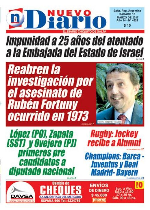 Tapa del 18/03/2017 Nuevo Diario de Salta