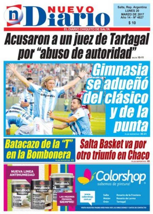 Tapa del 20/03/2017 Nuevo Diario de Salta