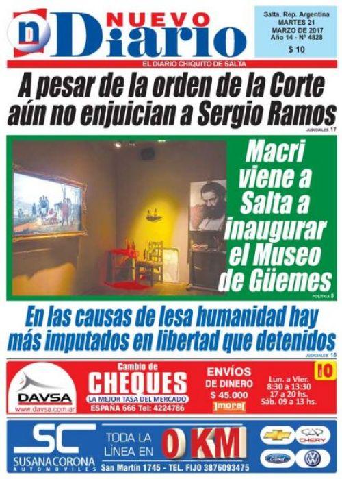Tapa del 21/03/2017 Nuevo Diario de Salta