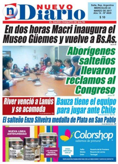 Tapa del 22/03/2017 Nuevo Diario de Salta