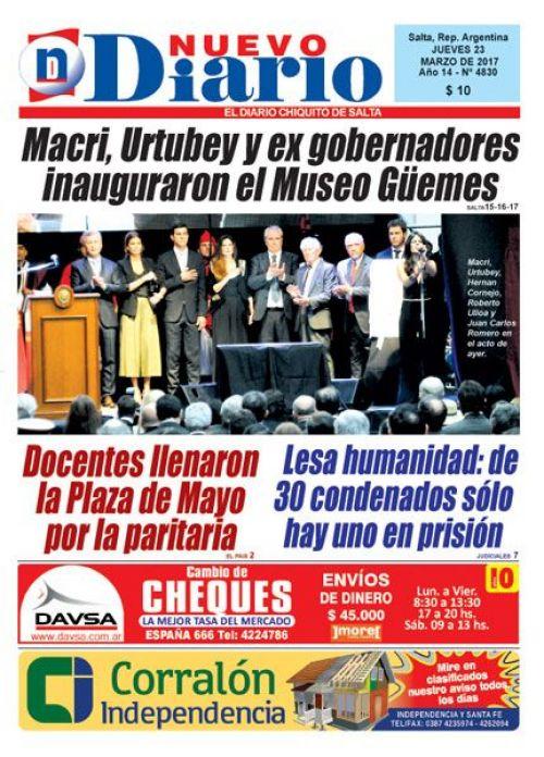 Tapa del 23/03/2017 Nuevo Diario de Salta