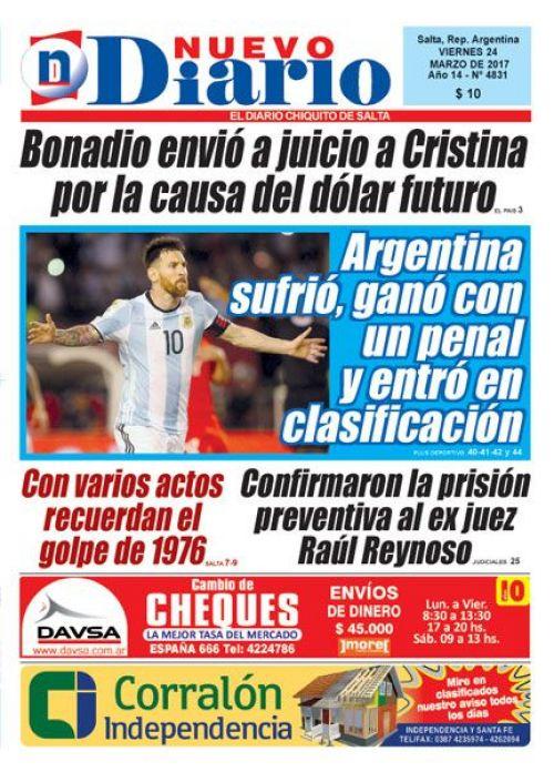Tapa del 24/03/2017 Nuevo Diario de Salta