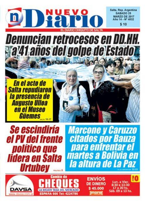 Tapa del 25/03/2017 Nuevo Diario de Salta