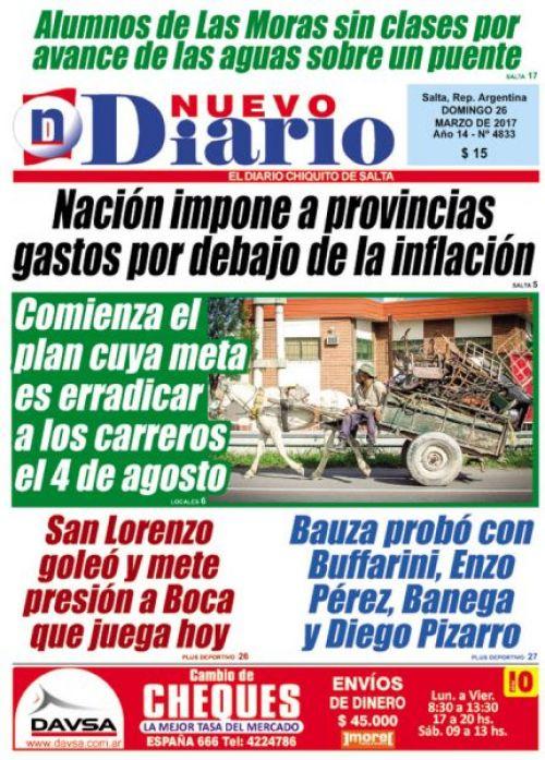 Tapa del 26/03/2017 Nuevo Diario de Salta