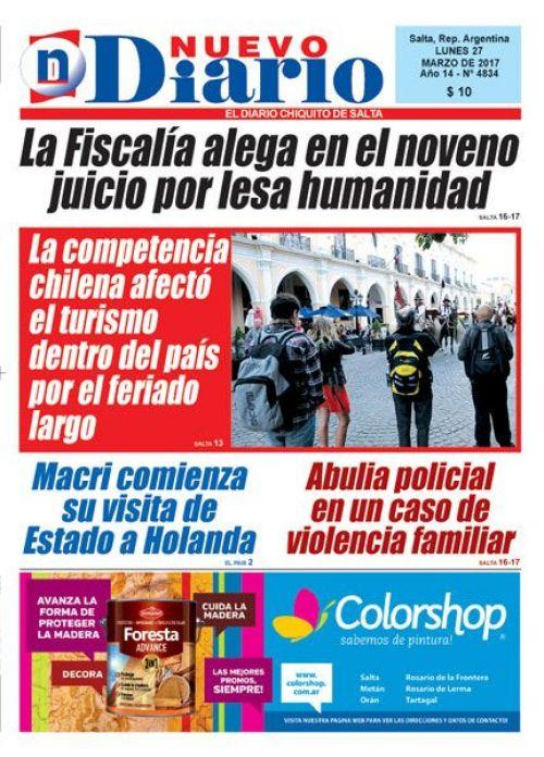 Tapa del 27/03/2017 Nuevo Diario de Salta
