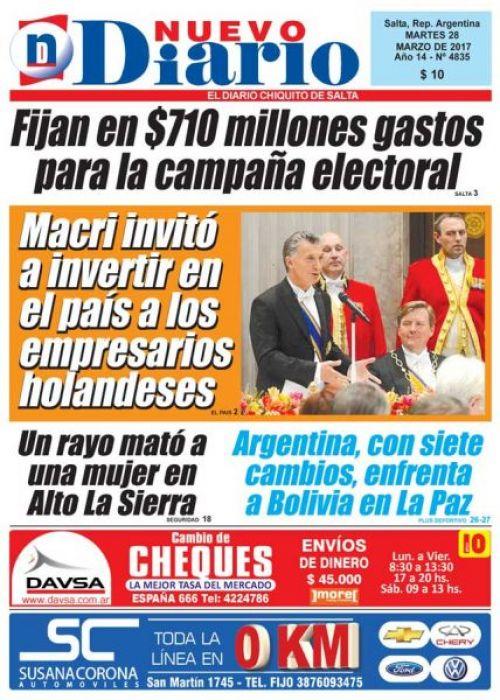 Tapa del 28/03/2017 Nuevo Diario de Salta