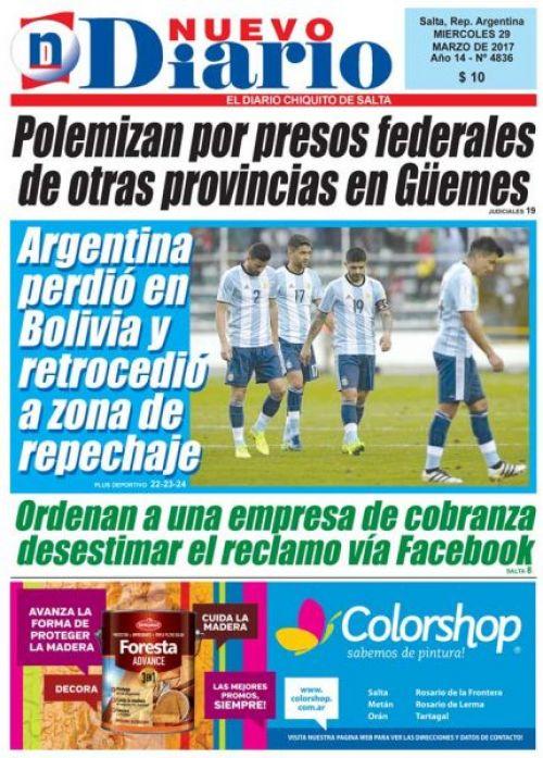 Tapa del 29/03/2017 Nuevo Diario de Salta