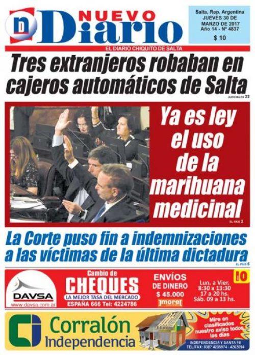 Tapa del 30/03/2017 Nuevo Diario de Salta