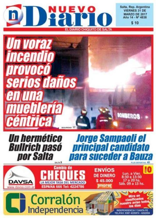 Tapa del 31/03/2017 Nuevo Diario de Salta