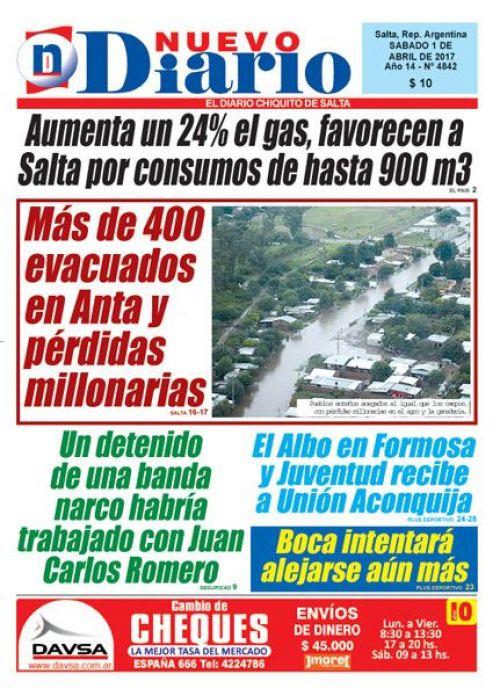 Tapa del 01/04/2017 Nuevo Diario de Salta
