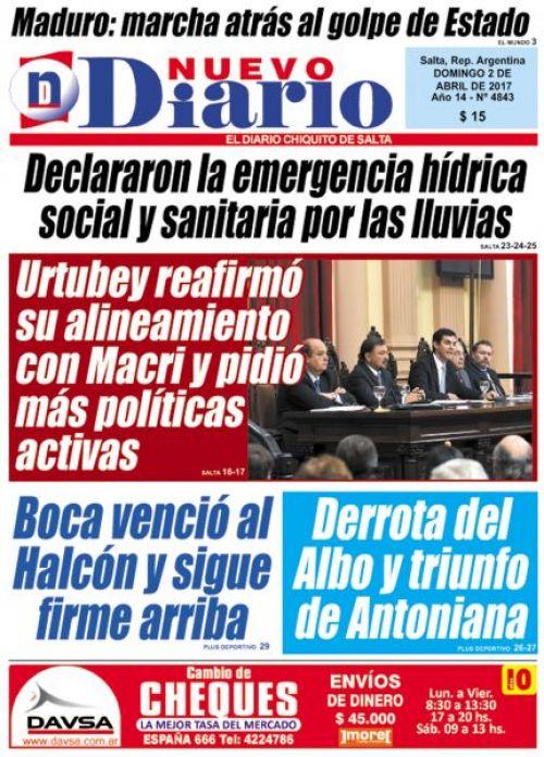 Tapa del 02/04/2017 Nuevo Diario de Salta
