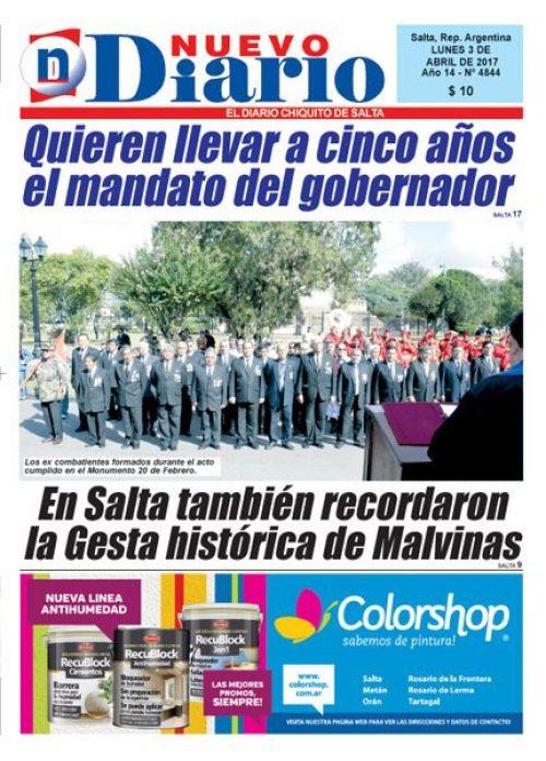 Tapa del 03/04/2017 Nuevo Diario de Salta