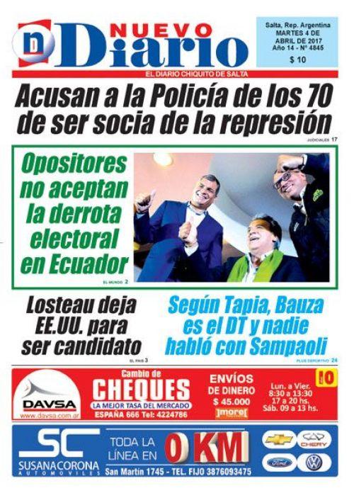 Tapa del 04/04/2017 Nuevo Diario de Salta